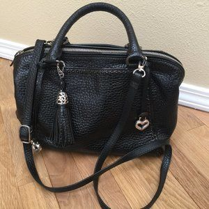 Brighton Black Pebble Leather Bag w Shoulder Strap